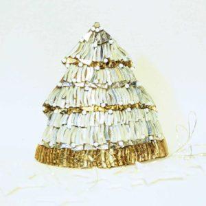 albero di natale metallo grande lineare bianco oro barbara liverani mosaico 1 r