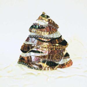 albero di natale metallo medio onde tortora barbara liverani mosaico r