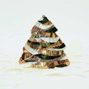 albero di natale metallo piccolo onde tortora barbara liverani mosaico r