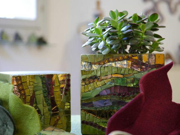 ravenna coppia di cache pot in mosaico verde