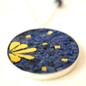 Barbara Liverani Mosaico Collana Ankur Oro cielo blu