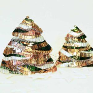 set alberi di natale metallo medio e piccolo onde tortora barbara liverani r